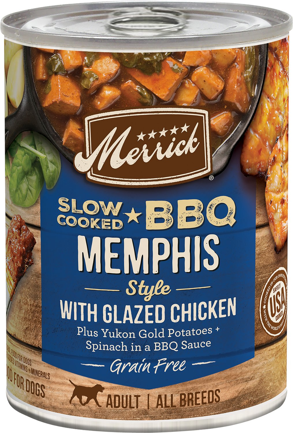 Merrick Slow-Cooked BBQ Memphis Style with Glazed Chicken Canned Dog Food, 12.7-oz, case of 12