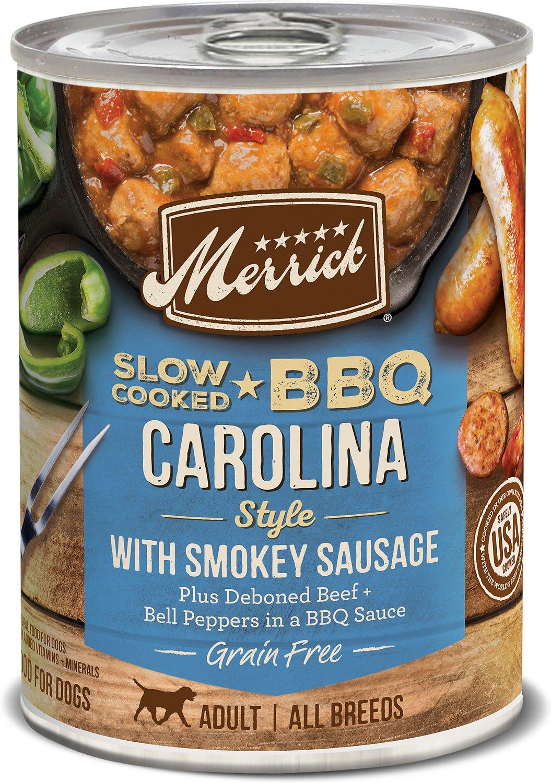 Merrick Slow-Cooked BBQ Carolina Style with Smokey Sausage Canned Dog Food, 12.7-oz