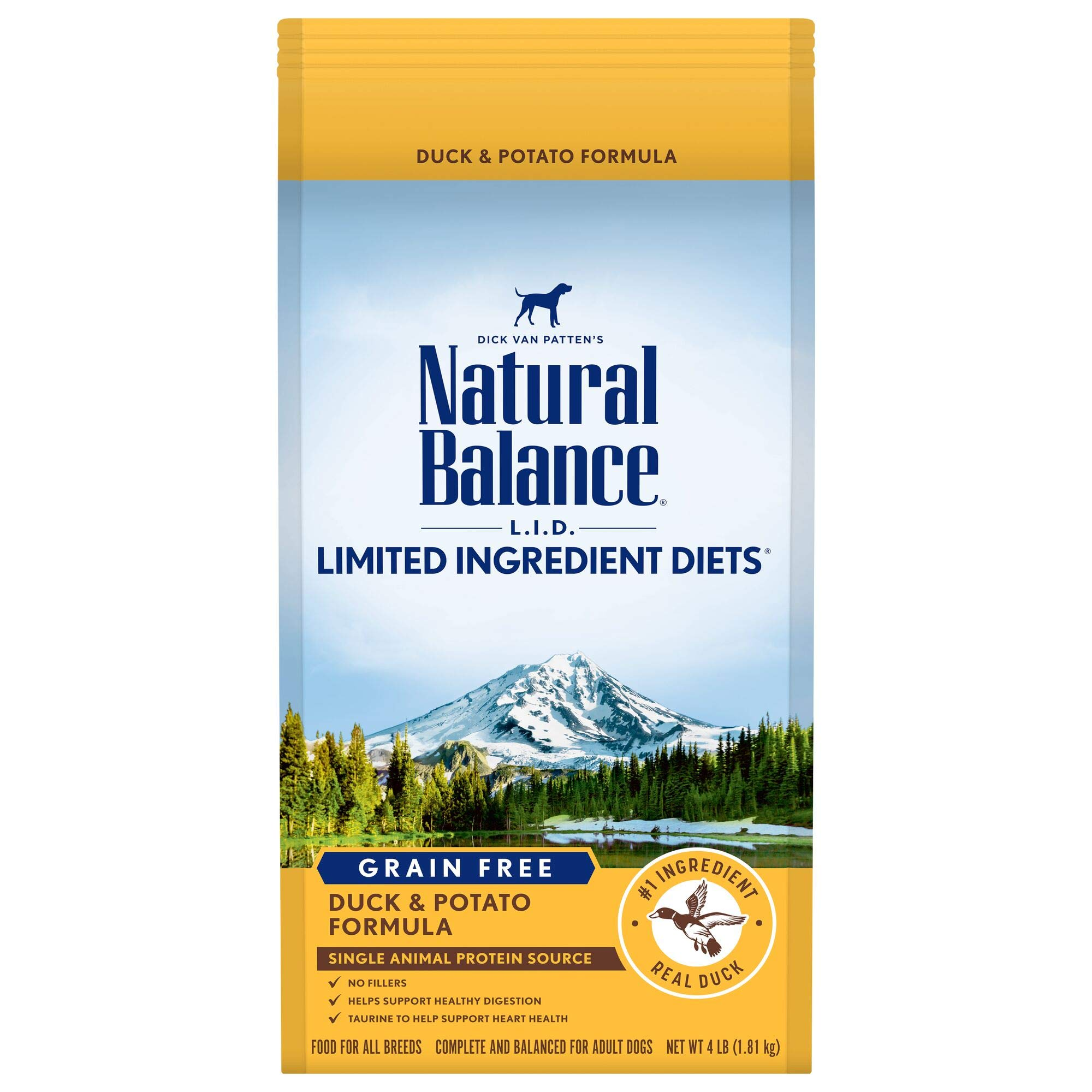 Natural Balance L.I.D. Limited Ingredient Diets Grain-Free Dry Dog Food, Duck & Potato, 4-lb bag