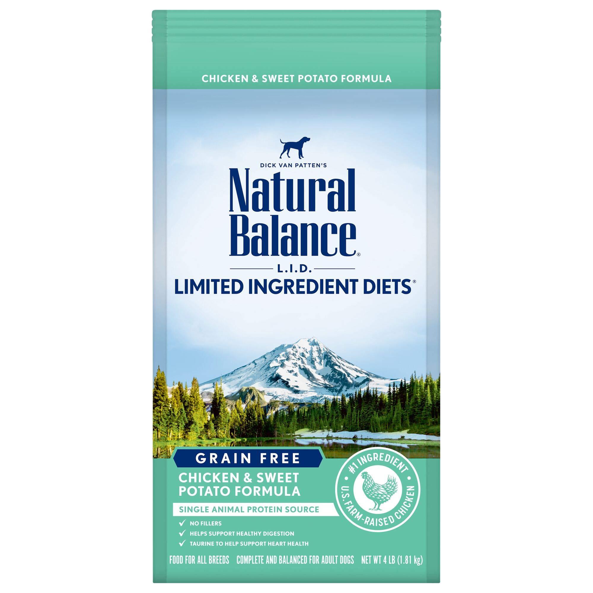 Natural Balance L.I.D. Limited Ingredient Diets Grain-Free Dry Dog Food, Chicken & Sweet Potato, 4-lb bag