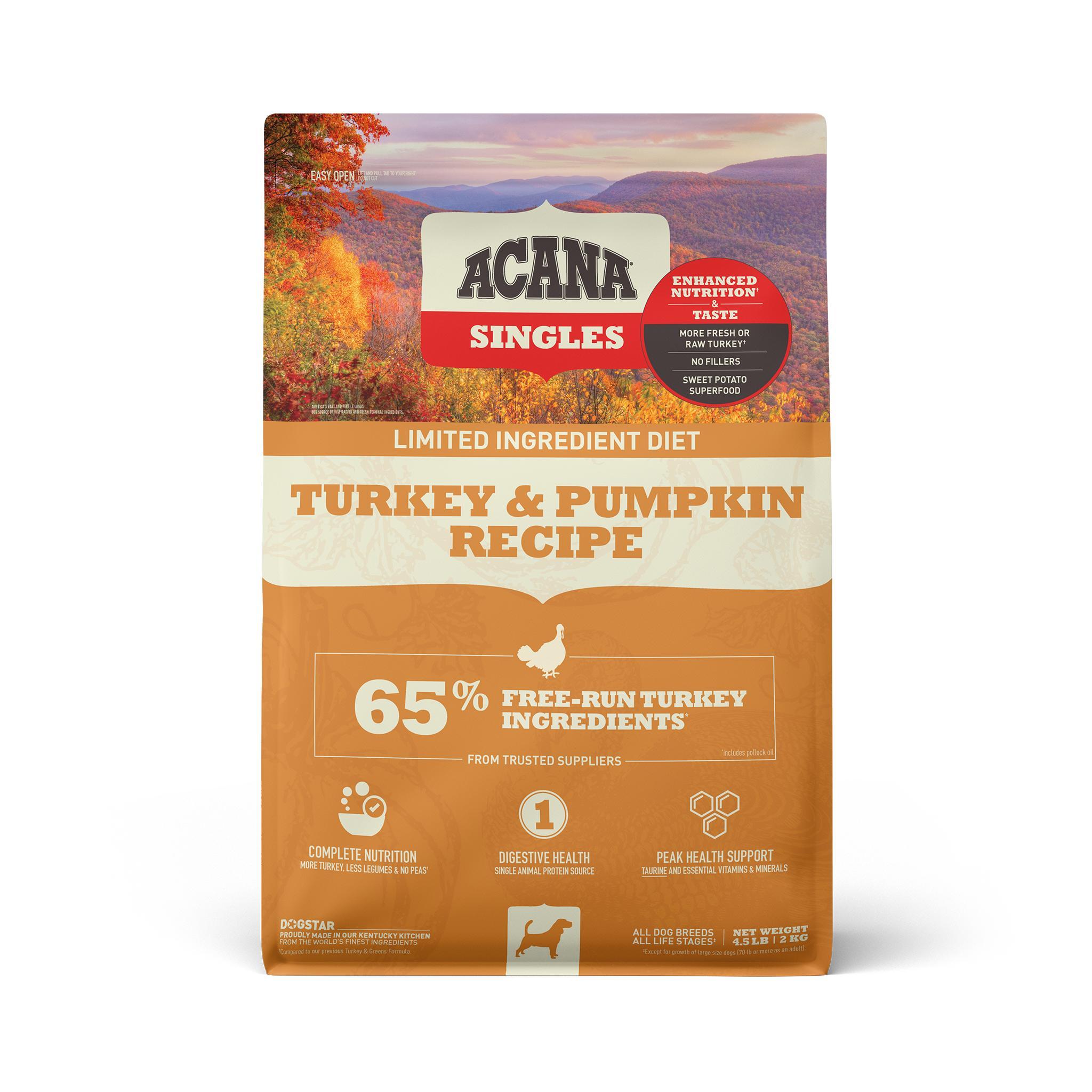 ACANA Singles Limited Ingredient Turkey & Pumpkin Grain-Free Dry Dog Food, 4.5-lb