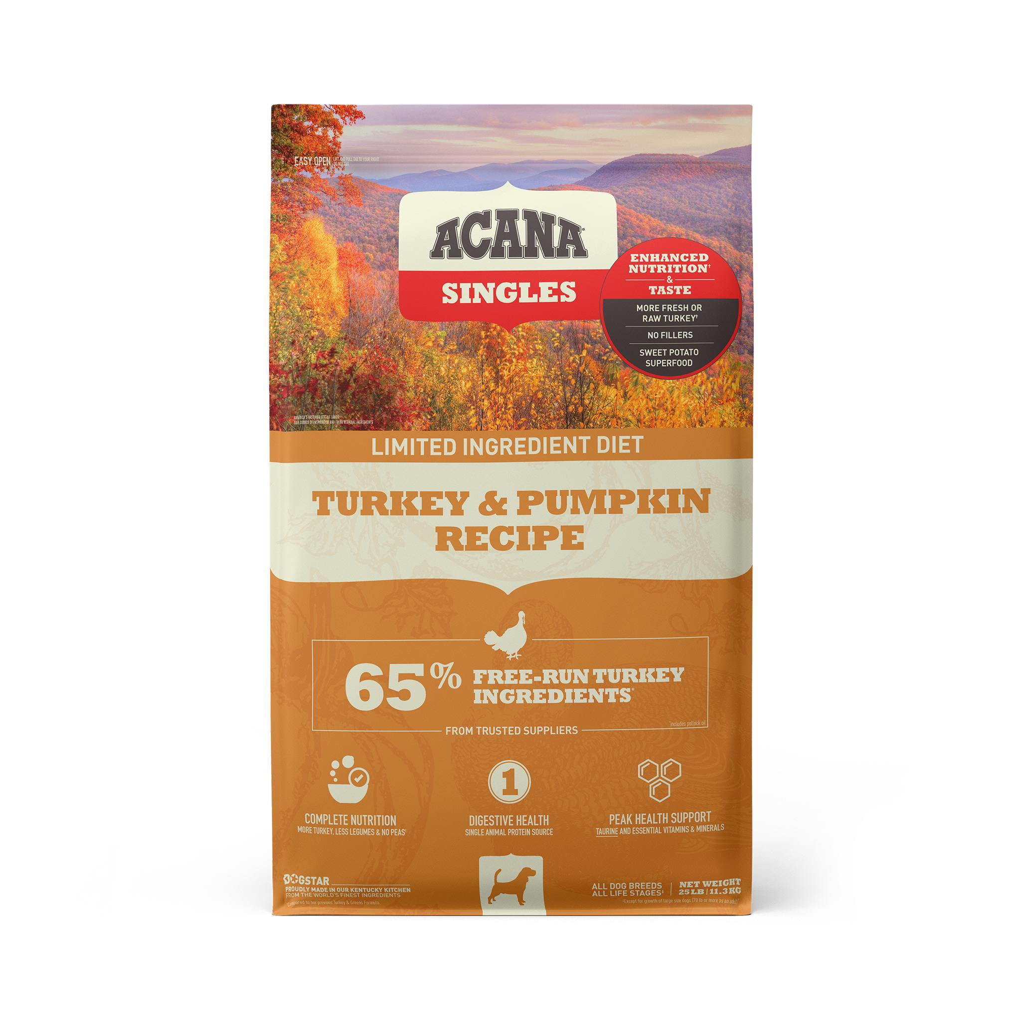 ACANA Singles Limited Ingredient Turkey & Pumpkin Grain-Free Dry Dog Food, 25-lb