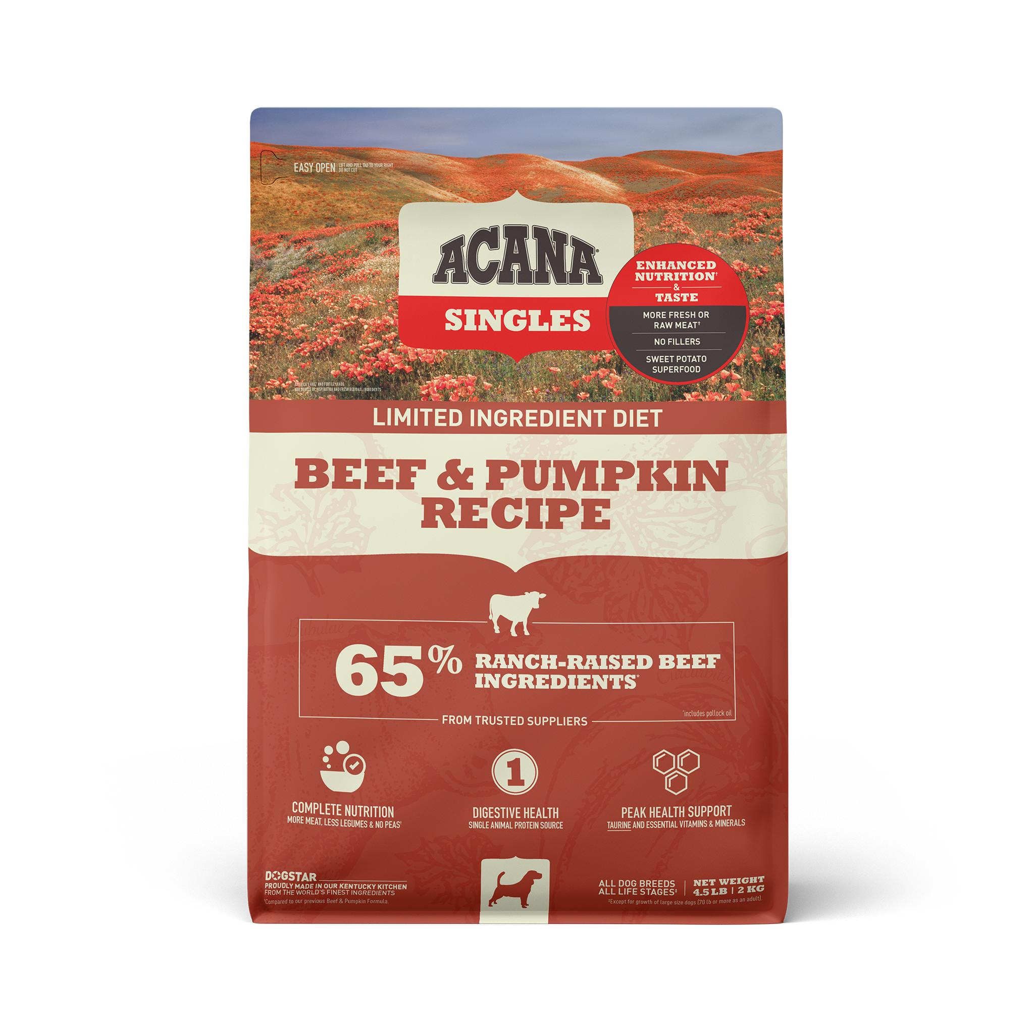 ACANA Singles Limited Ingredient Beef & Pumpkin Grain-Free Dry Dog Food, 4.5-lb