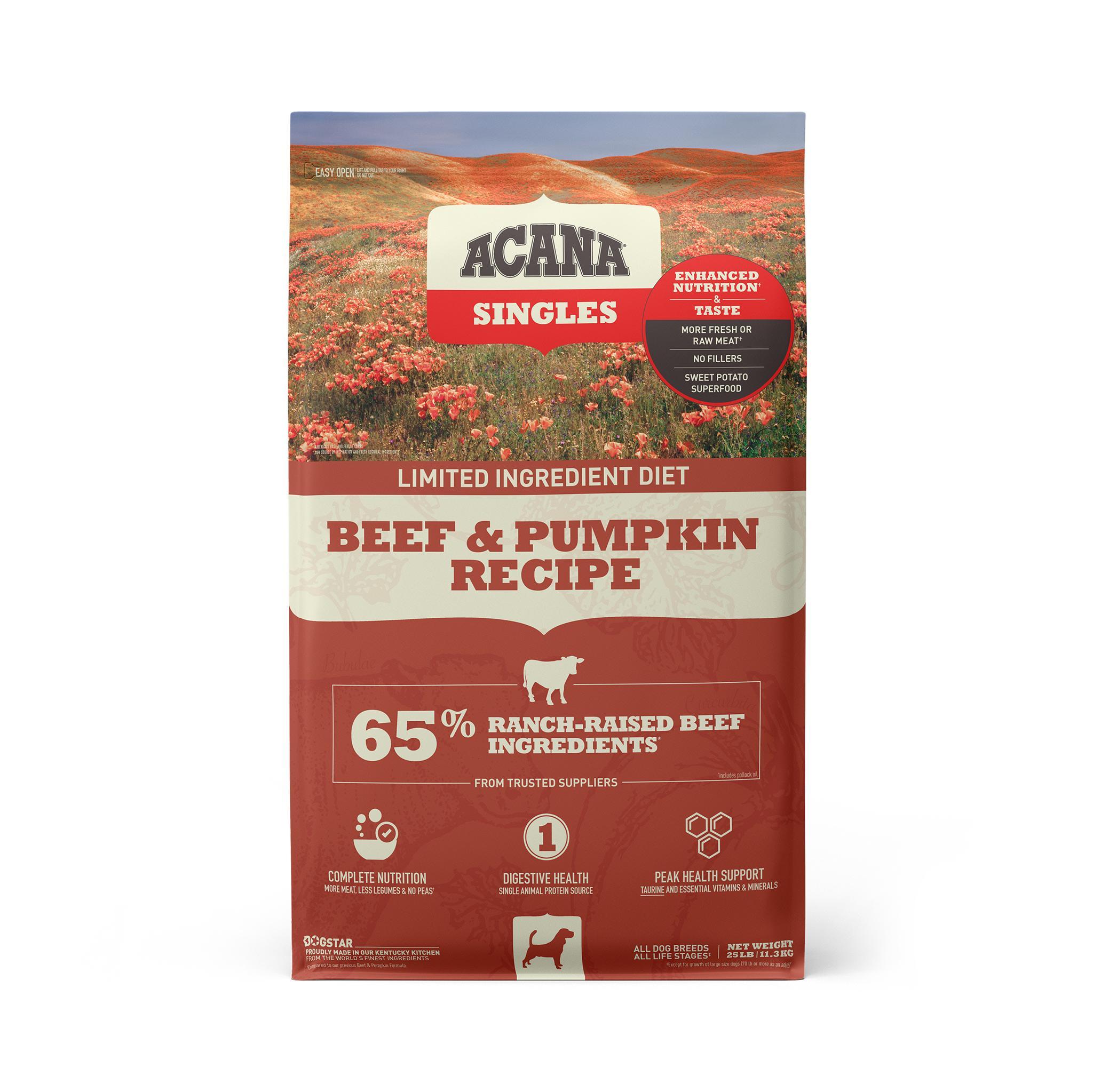 ACANA Singles Limited Ingredient Beef & Pumpkin Grain-Free Dry Dog Food, 25-lb