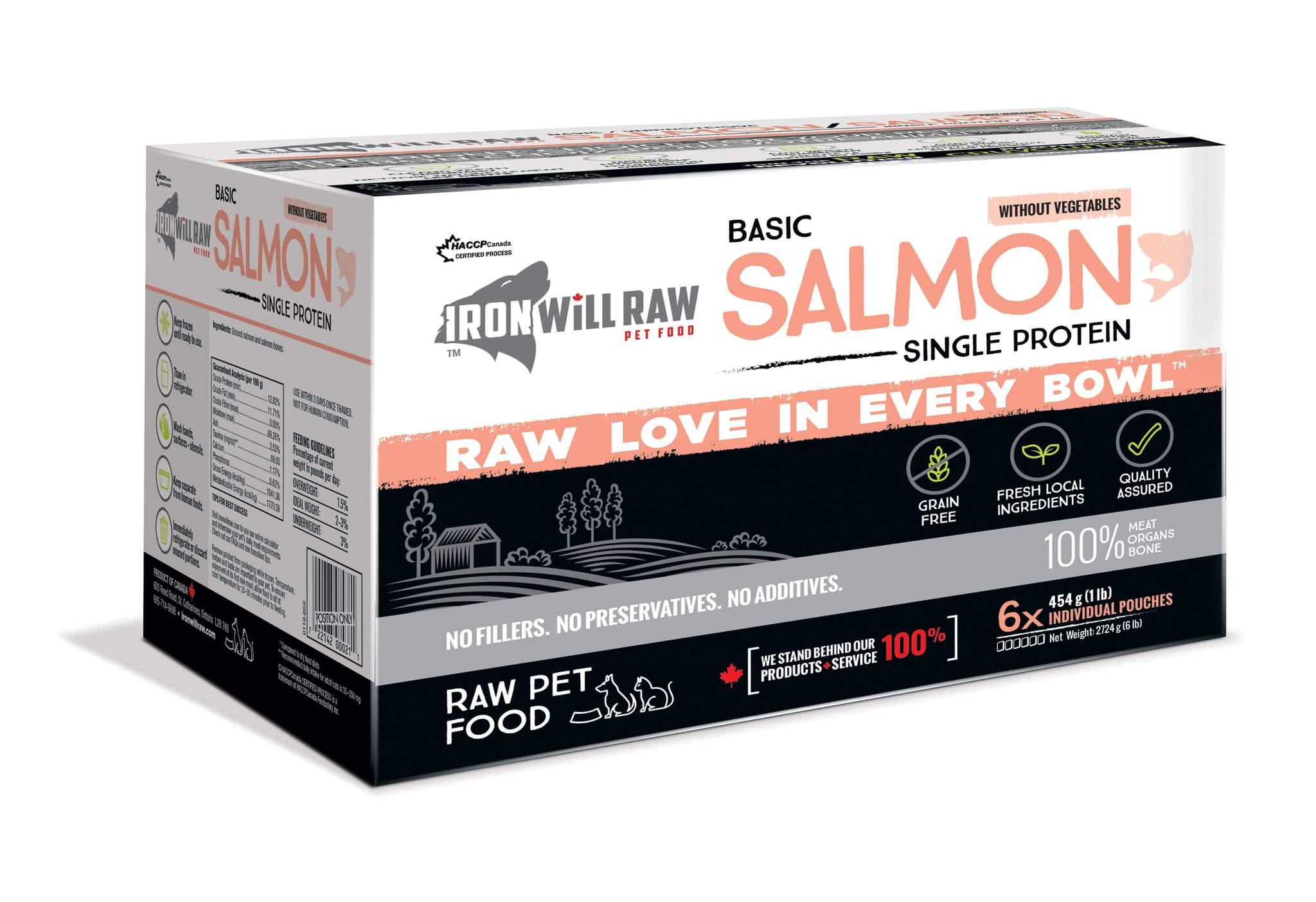 Iron Will Raw Basic Salmon Frozen Cat & Dog Food, 6-lb