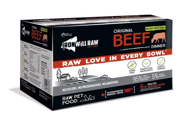 Iron Will Raw Original Beef Frozen Cat & Dog Food, 6-lb