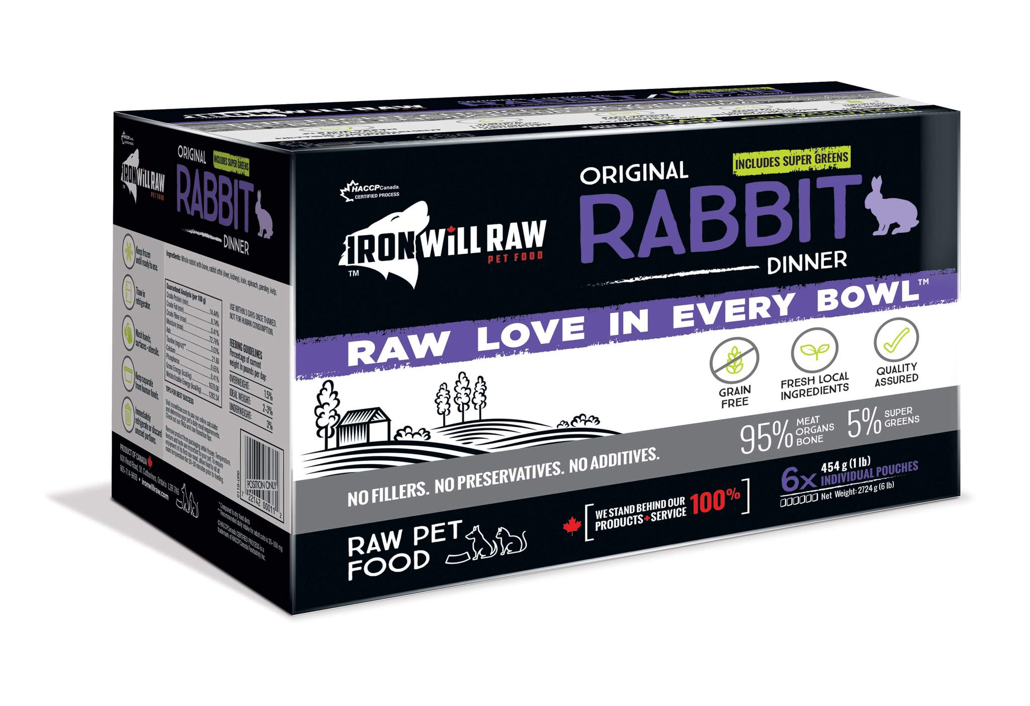 Iron Will Raw Original Rabbit Frozen Cat & Dog Food, 6-lb