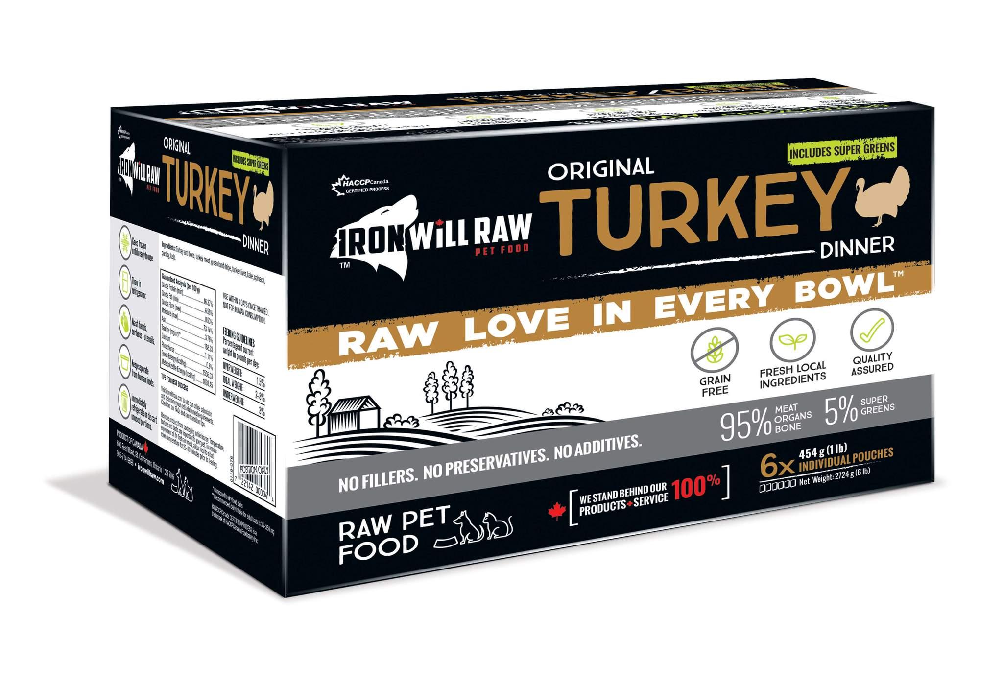 Iron Will Raw Original Turkey Frozen Cat & Dog Food, 6-lb
