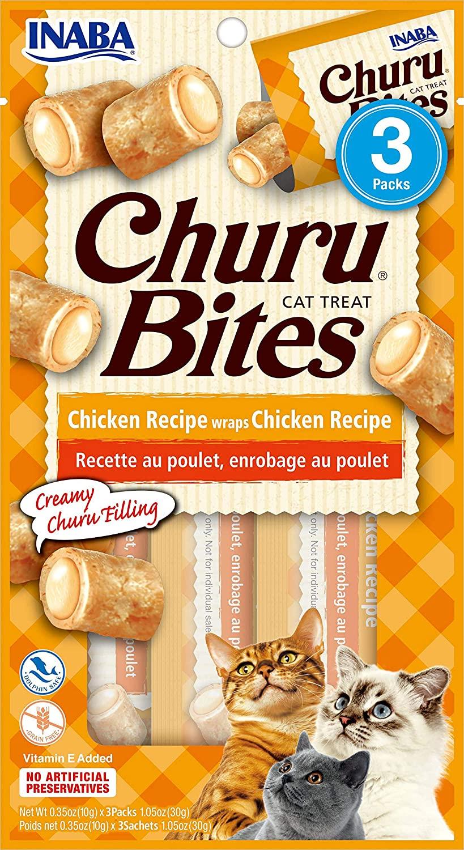 Inaba Churu Bites Chicken Wrapped Chicken Grain-Free Cat Treats, 3-pk