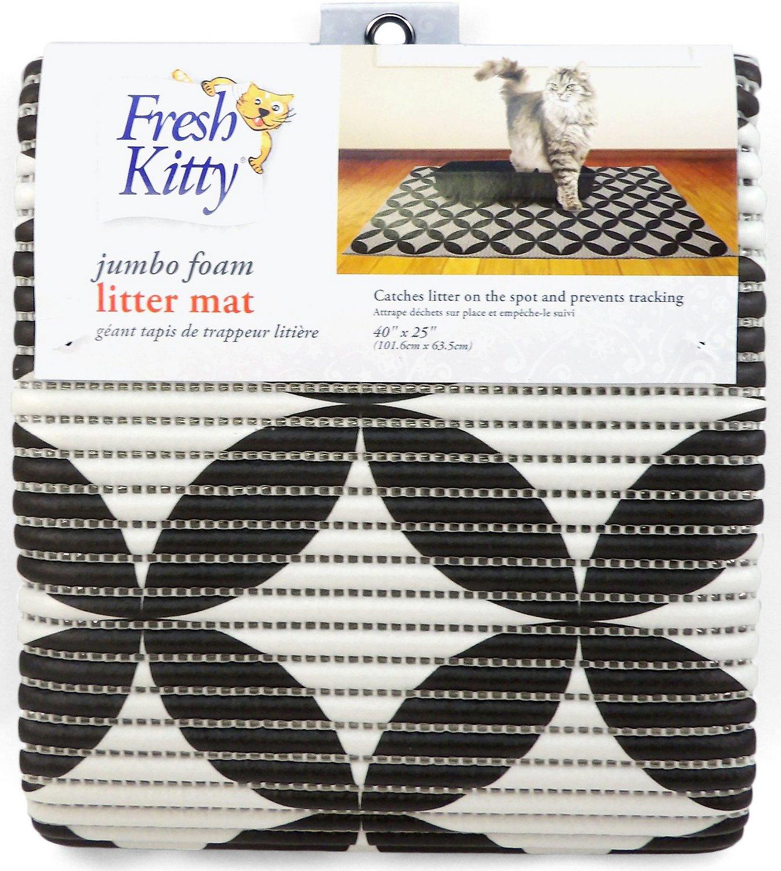 Fresh Kitty Jumbo Foam Circles Cat Litter Mat, Black & Gray
