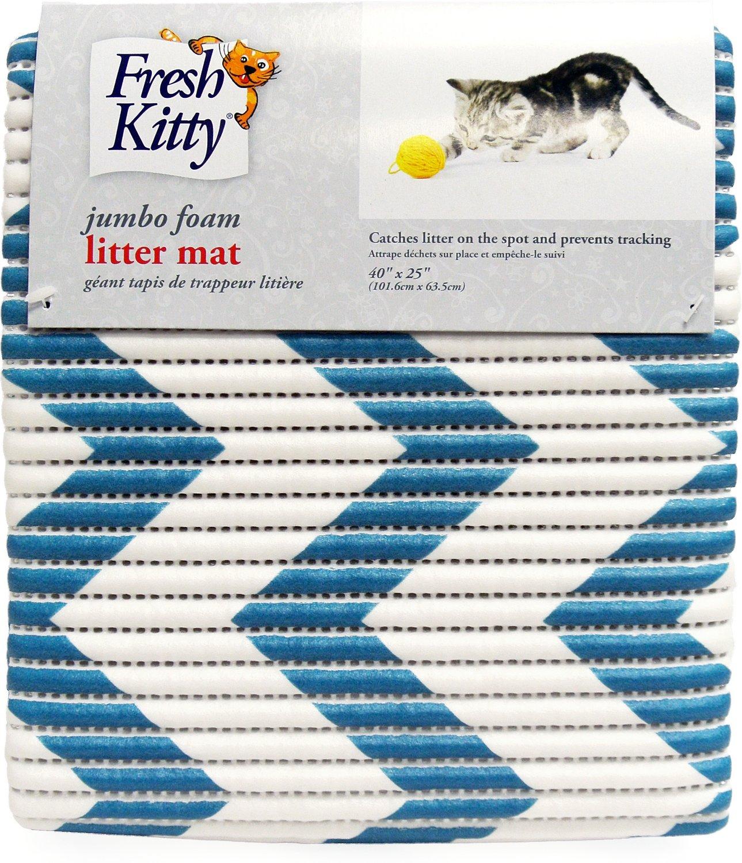 Fresh Kitty Jumbo Foam Chevron Cat Litter Mat, Blue & White