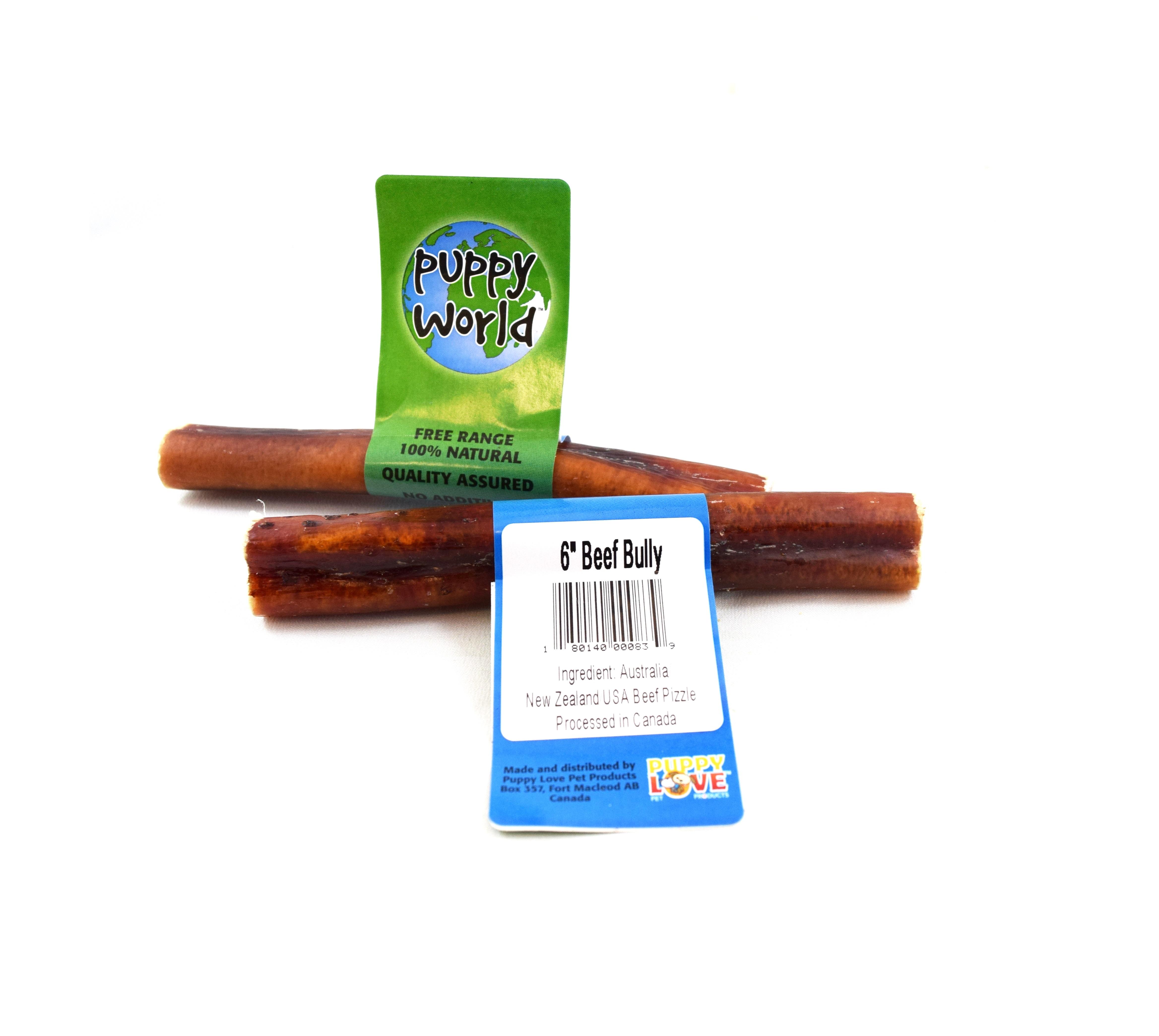 Puppy Love Puppy World Beef Bully Stick Dog Treats, 6-in