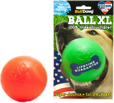 Ruff Dawg Indestructible Ball Dog Toy, Color Varies, 3.5-in