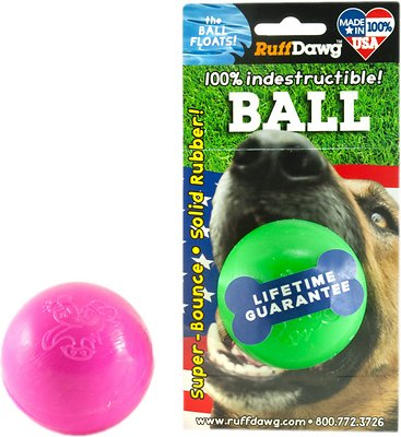 Ruff Dawg Indestructible Ball Dog Toy, Color Varies, 2.5-in