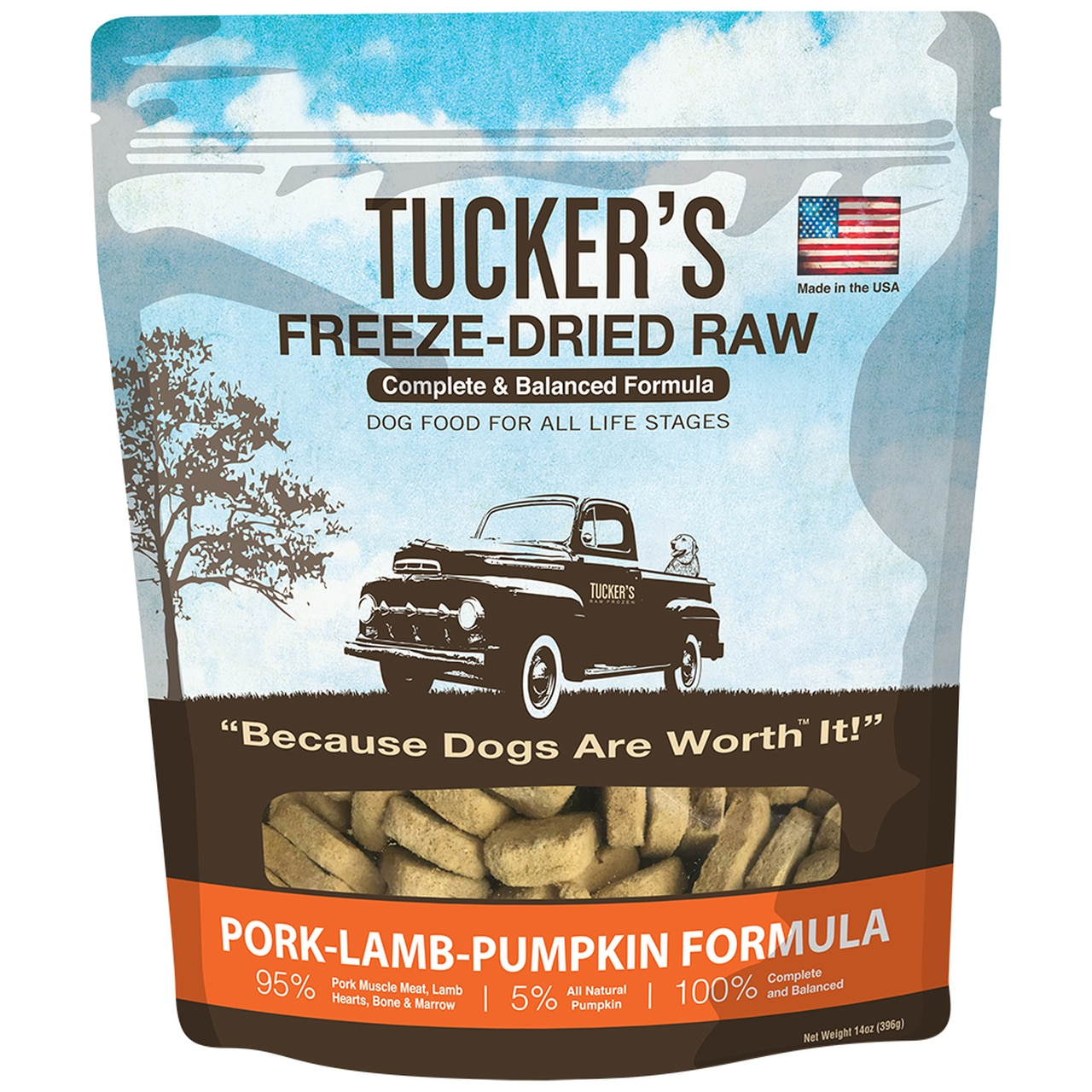 Tucker's Pork-Lamb-Pumpkin Formula Freeze-Dried Raw Dog Food, 14-oz