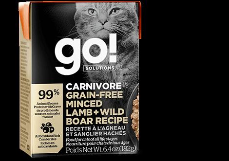 Petcurean Cat Go! Solutions Carnivore Minced Lamb + Wild Boar Wet Cat Food, 6.4-oz, case of 24