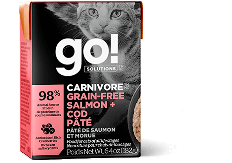 Go! Solutions Carnivore Salmon + Cod Pate Grain-Free Wet Cat Food, 6.4-oz, case of 24