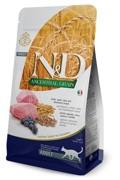 Farmina N&D Ancestral Grain Lamb & Blueberry Dry Cat Food Image