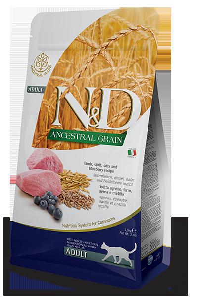 Farmina N&D Ancestral Grain Lamb & Blueberry Dry Cat Food, 3.3-lb