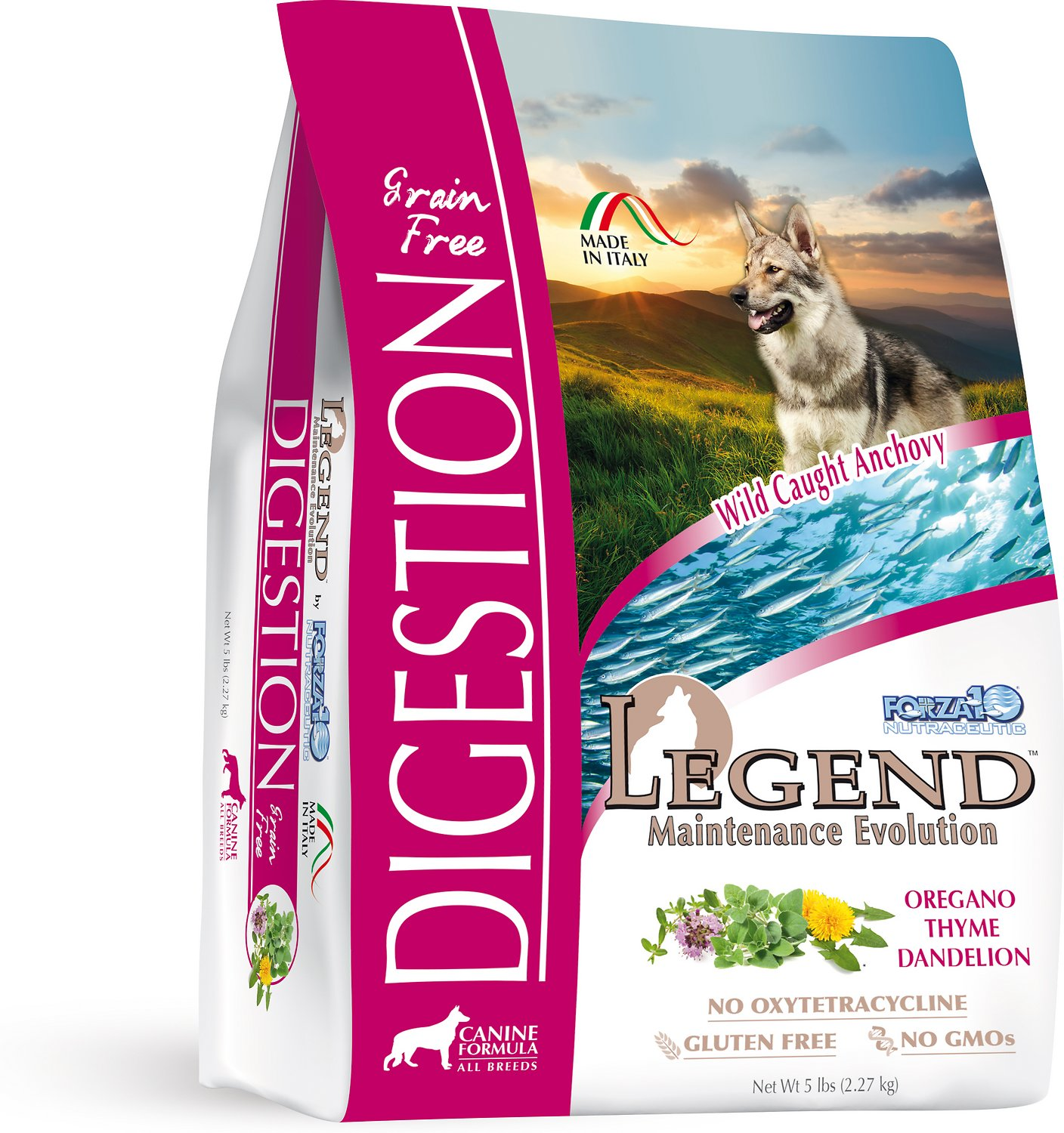 Forza10 Nutraceutic Legend Digestion Wild Caught Anchovy Grain-Free Dry Dog Food, 5-lb