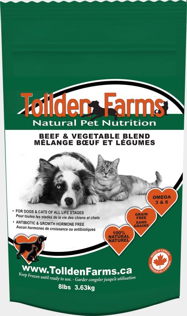 Tollden Farms Beef & Vegetable Blend Frozen Cat & Dog Food, 8-lb