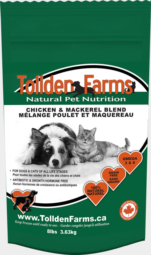 Tollden Farms Chicken & Mackeral Blend Frozen Cat & Dog Food, 3-lb