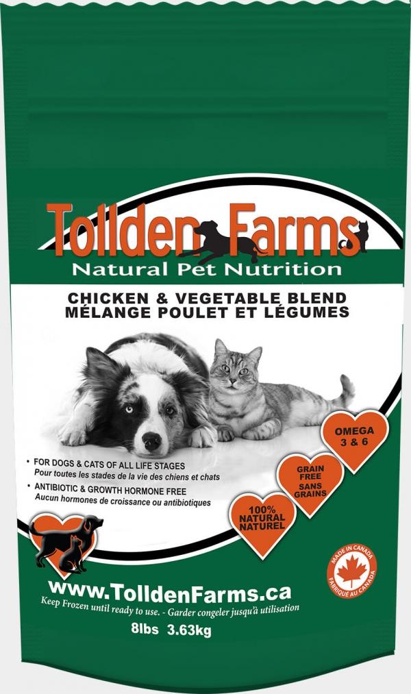 Tollden Farms Chicken & Vegetable Blend Frozen Cat & Dog Food, 8-lb