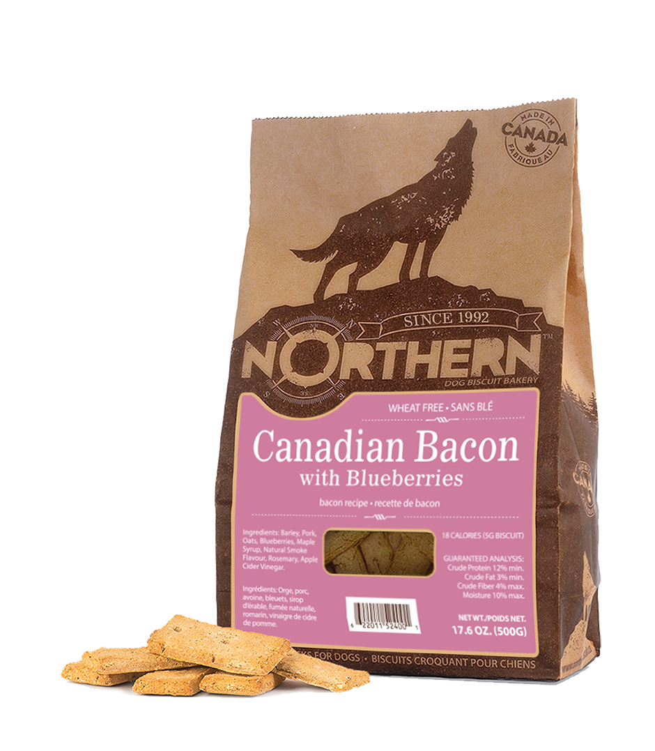 Northern Biscuit Canadian Bacon with Blueberries Dog Treats, 500-gram Size: 500-gram