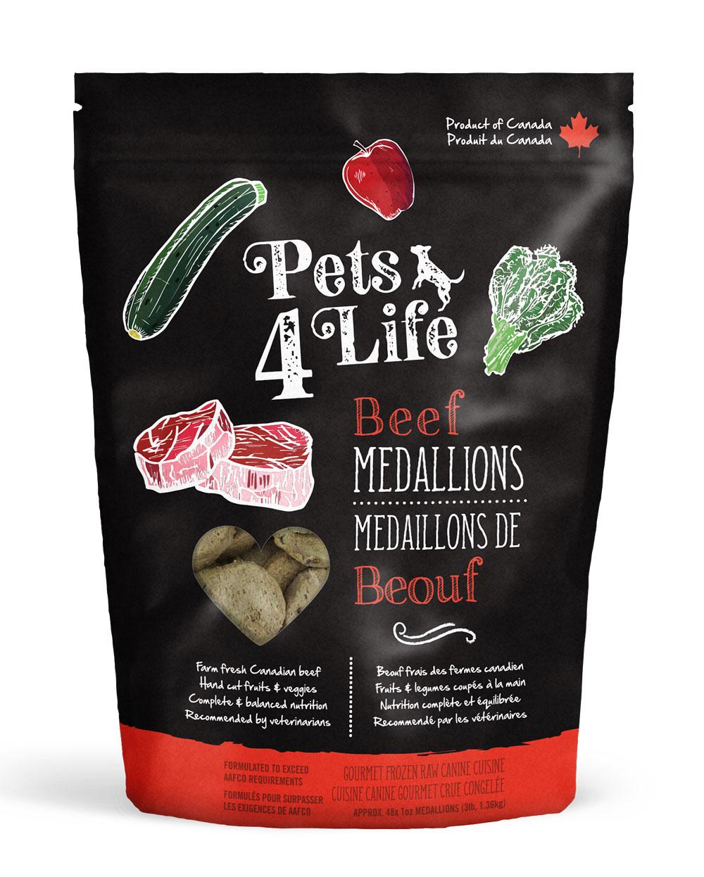 Pets 4 Life Canine Beef Medallions Raw Dog Food, 3-lb