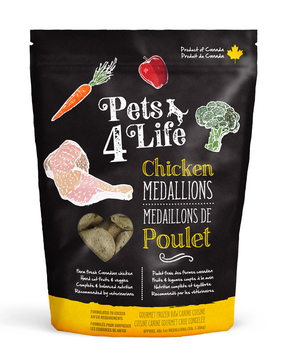 Pets 4 Life Canine Chicken Medallions Raw Dog Food Image