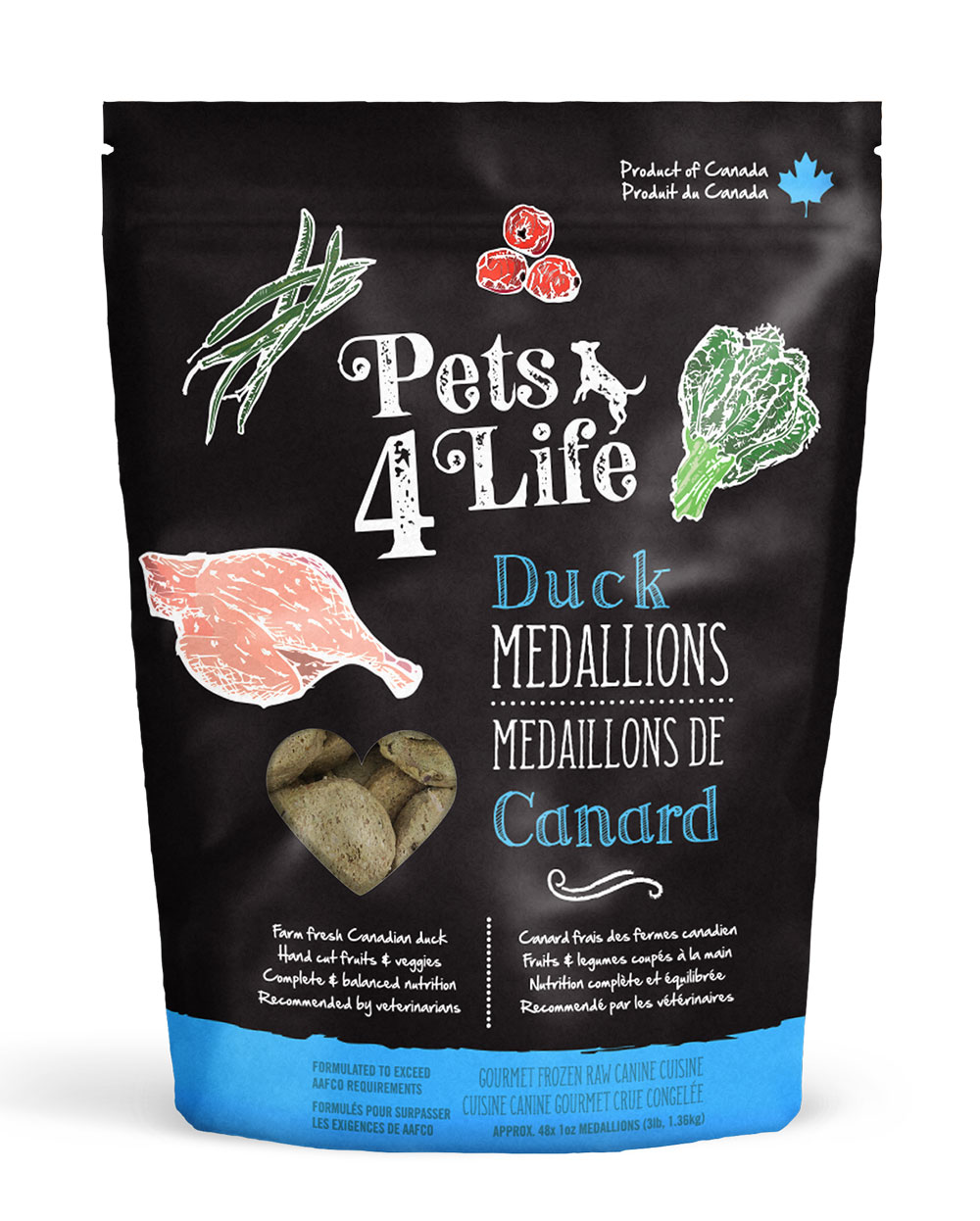 Pets 4 Life Canine Duck Medallions Raw Dog Food Image
