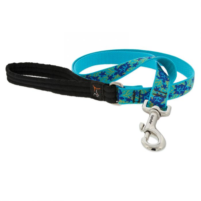 Lupine Pet Original Designs Padded Handle Dog Leash, Turtle Reef, 3/4-in x 6-ft