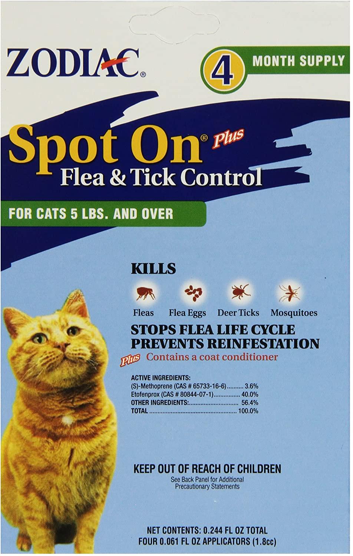 Zodiac Spot On Plus Flea & Tick Control for Cats over 5-lb