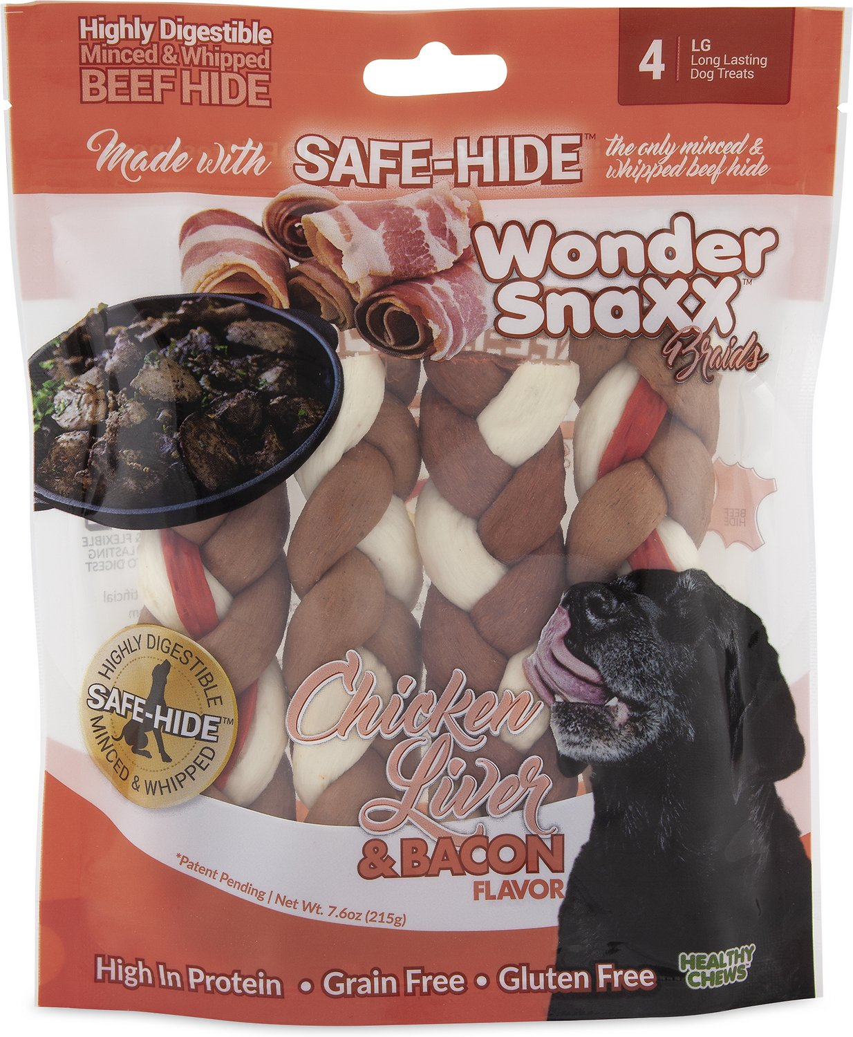 HEALTHY CHEWS Wonder Snaxx Braids Chicken Liver & Bacon Flavor Dog Treats, 4-count