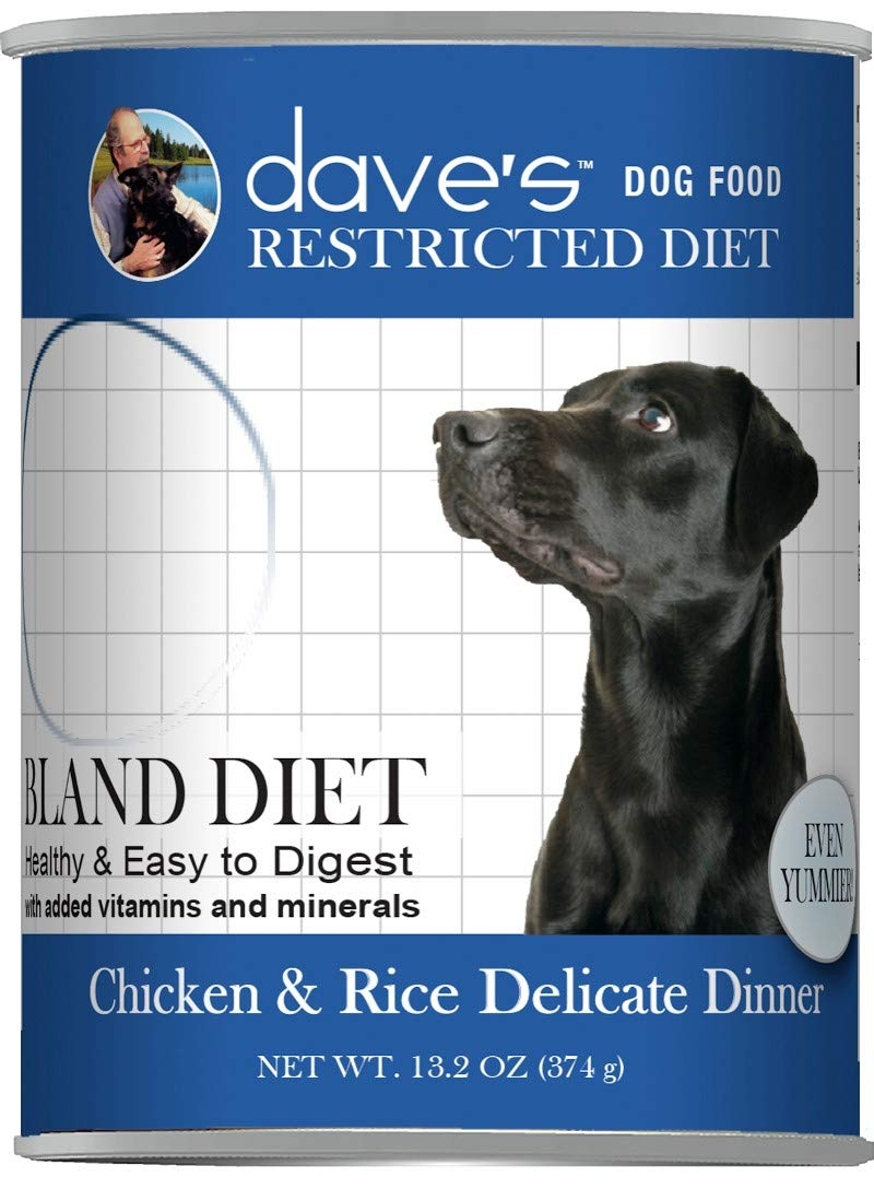 Dave's Dog Food Restricted Bland Diet Canned Dog Food, Chicken and Rice Delicate Dinner, 13.2-oz can