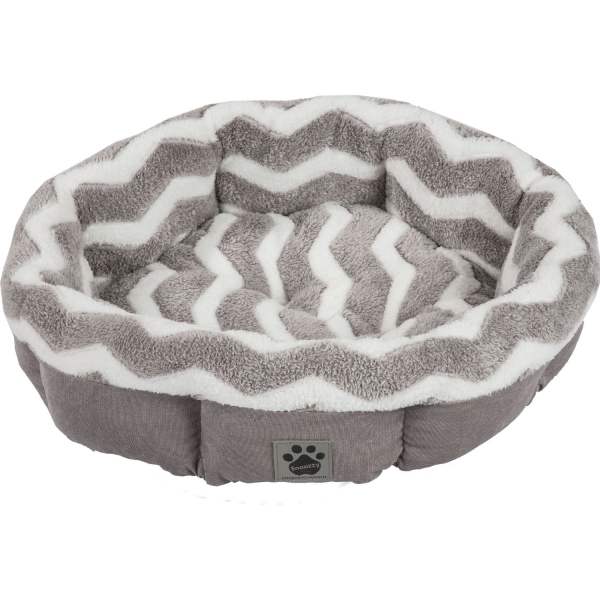 Precision SnooZZy ZigZag Shearling Pet Bed, Gray/White, 21-in (Size: 21-in) Image
