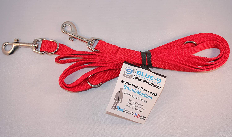 Blue-9 Multi-Function Dog Leash, Red, Medium/Large