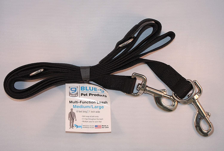 Blue-9 Multi-Function Dog Leash, Black, Small/Medium