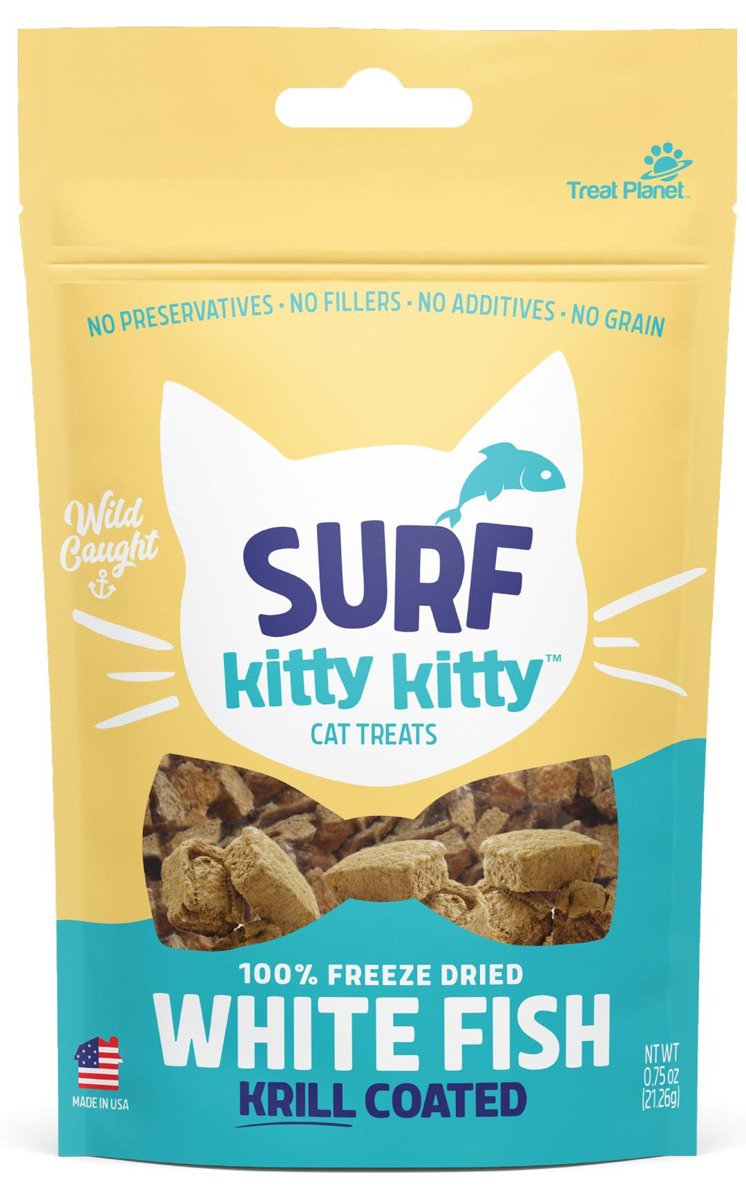 Surf Kitty Kitty Freeze Dried White Fish Cat Treats with Krill Coating, 0.6-oz