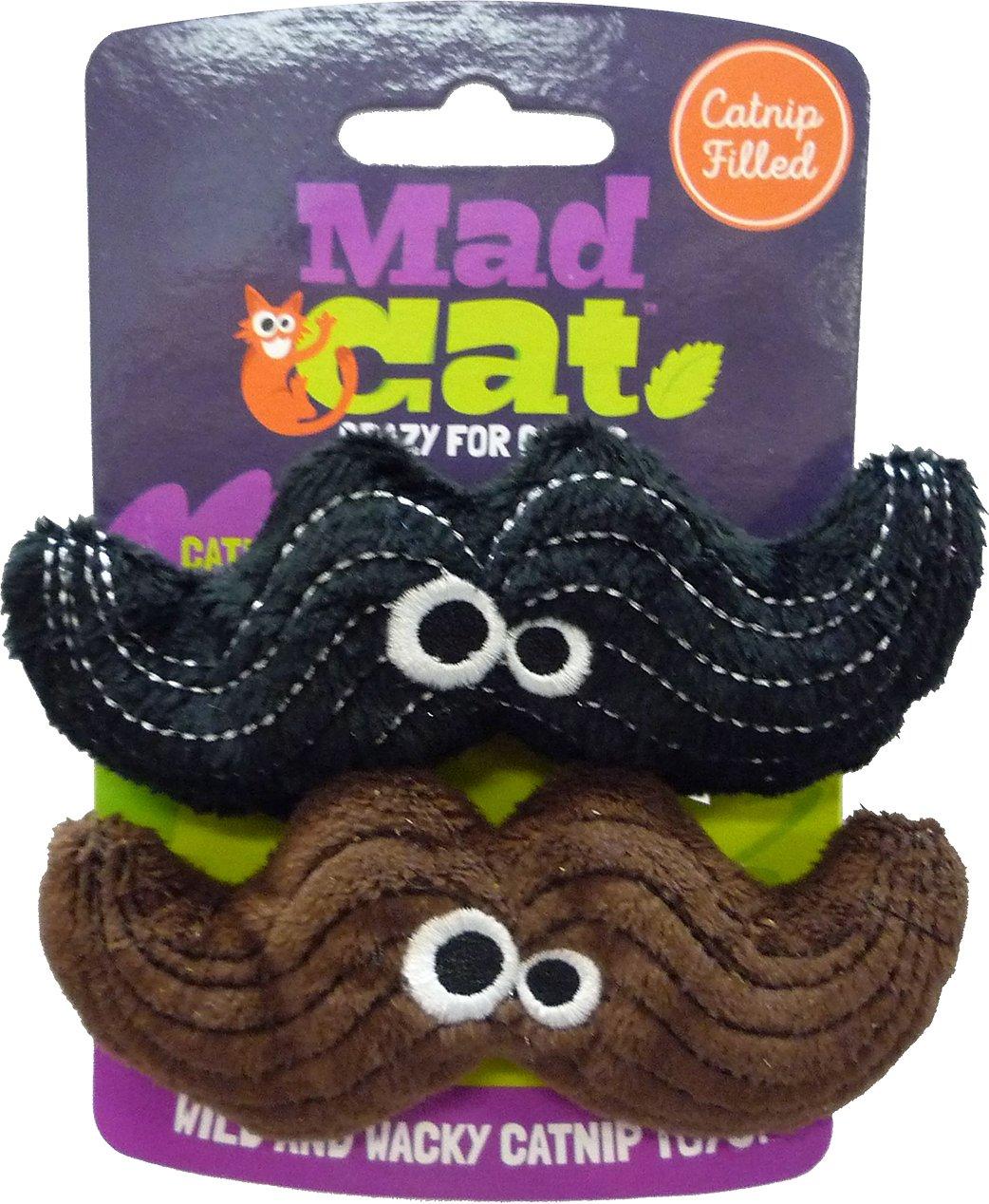 Mad Cat Meowstache Catnip & Silvervine Cat Toy, 2-pk