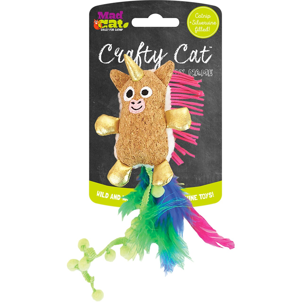 Mad Cat Crafty Cat Prancing Pom Unicorn Cat Toy