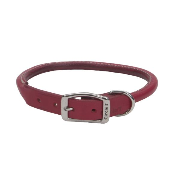 Circle T Oak Tanned Leather Round Dog Collar, Red, 3/4-in x 18-in