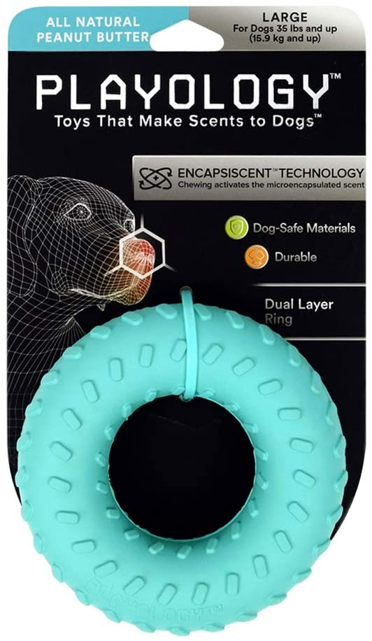 Playology Dual Layer Ring Scented Dog Chew Toy, Peanut Butter, Large