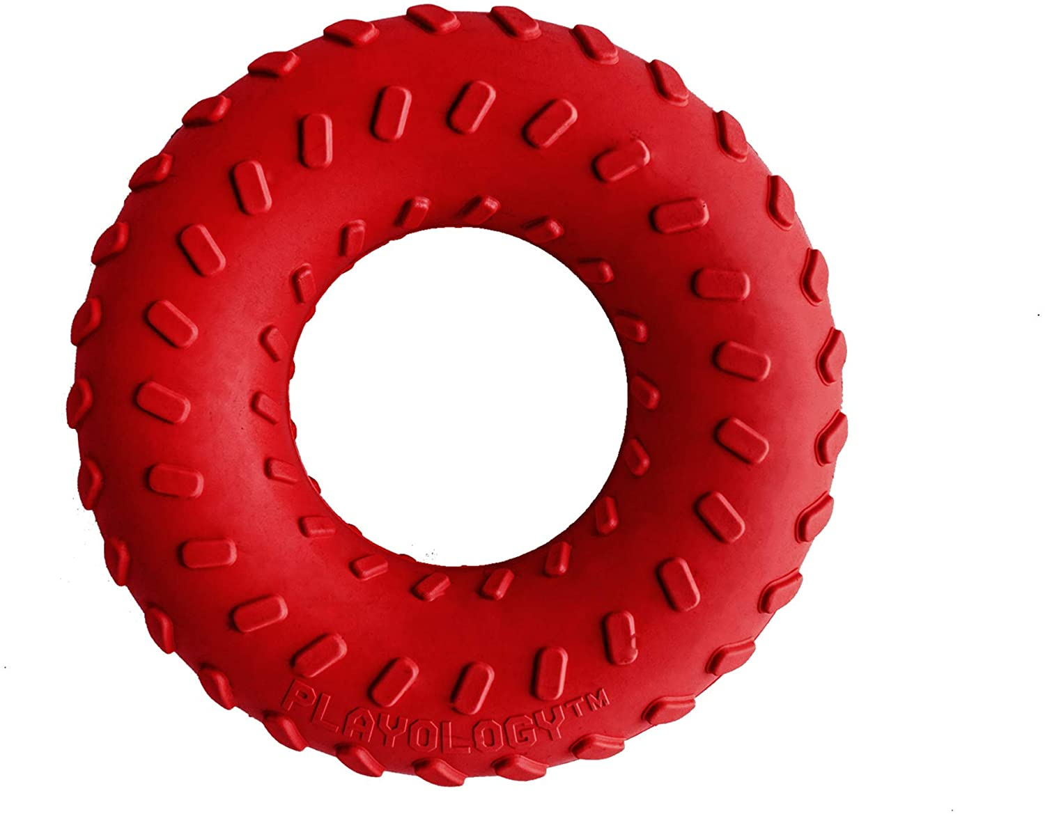 Playology Dual Layer Ring Beef Scented Dog Chew Toy, Large