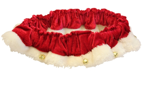 Huxley & Kent Holiday Scrunchy Santa Ruff with Bells Dog Costume, Red, Medium