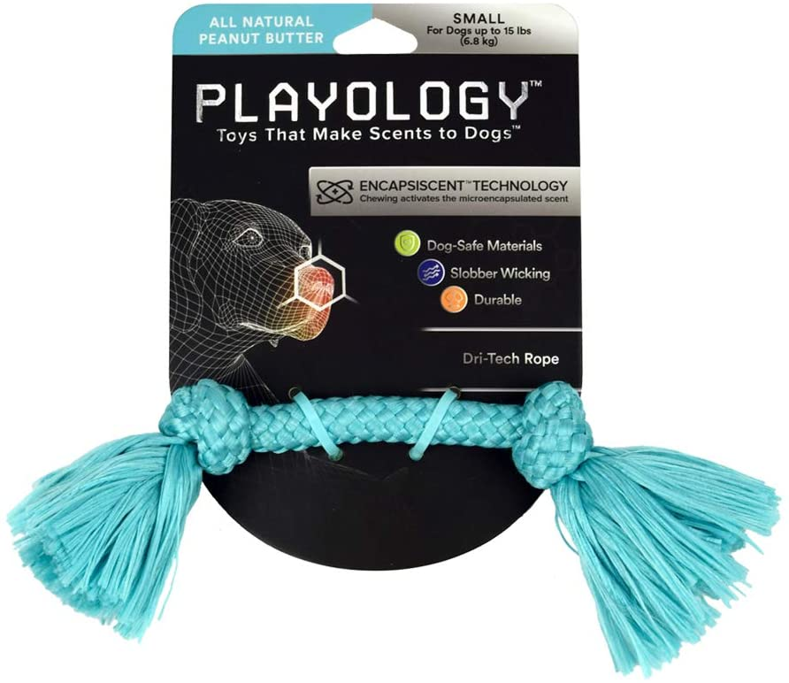 Playology Dri-Tech Rope Peanut Butter Scented Dog Toy, Small