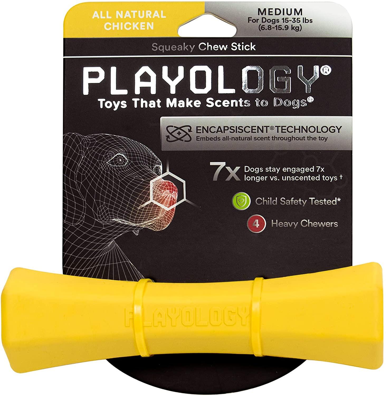 Playology Squeaky Chew Stick Chicken Scented Dog Toy, Medium