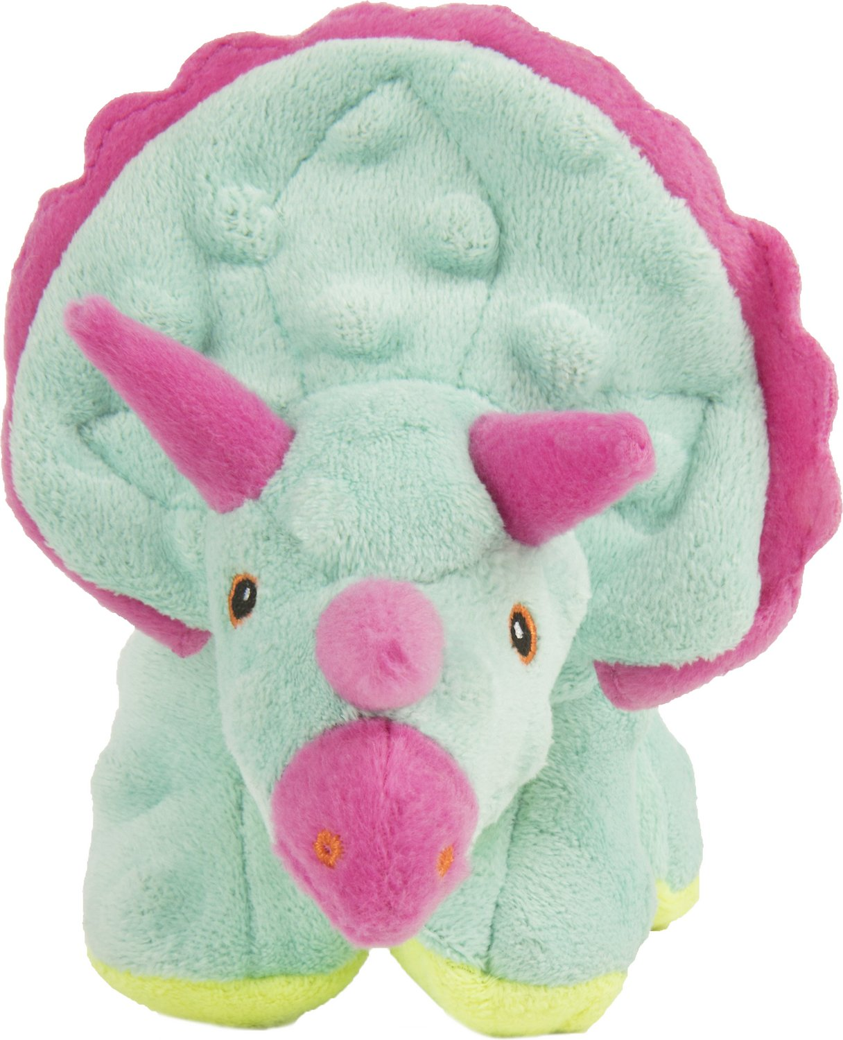 GoDog Dinos Chew Guard Frills Triceratops Dog Toy, Teal, Small