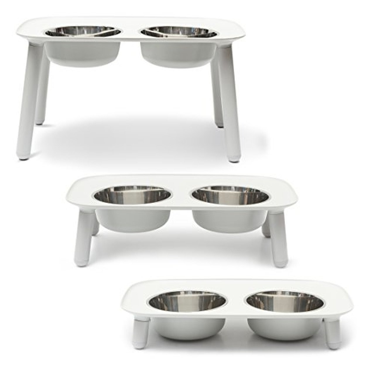 Messy Mutts Elevated Double Feeder Dog Bowl, Lite Grey