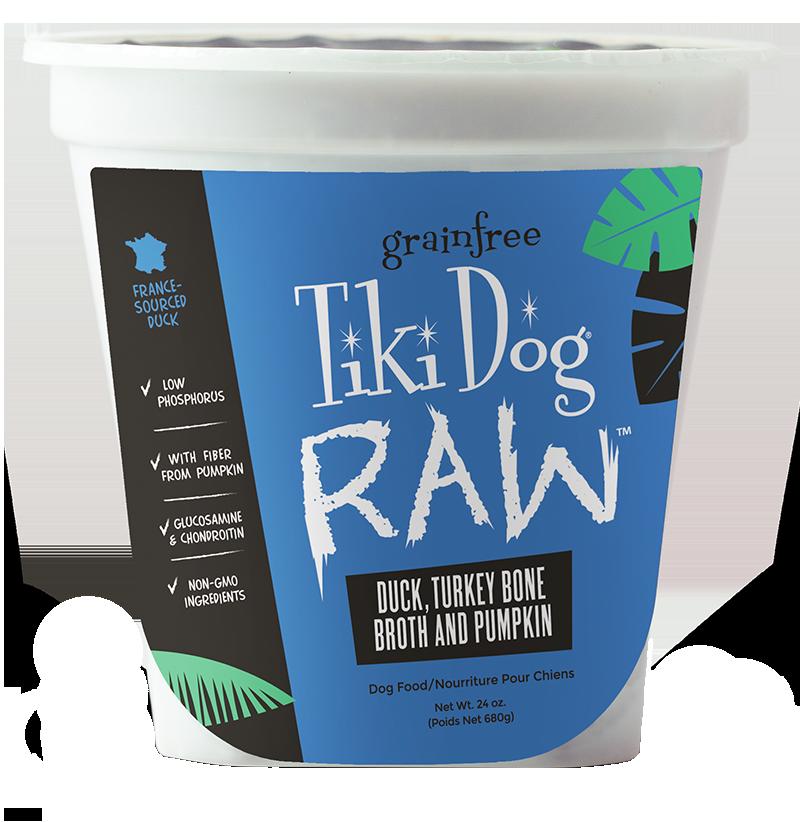 Tiki Dog Raw Duck, Turkey Bone Broth & Pumpkin Frozen Dog Food, 24-oz